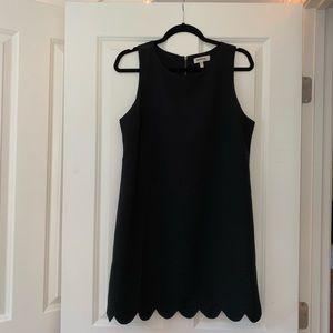 Monteau Black Mini Dress with Scalloped Bottom